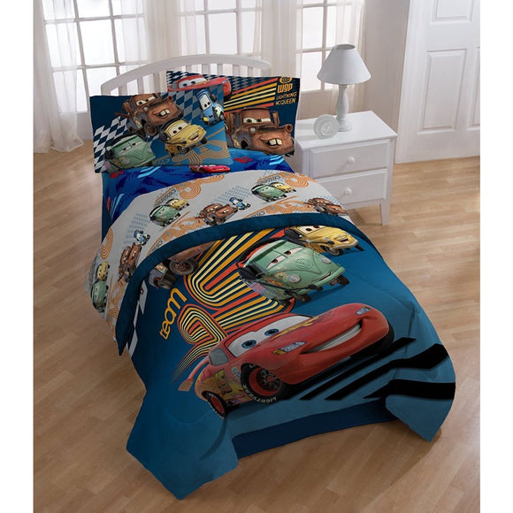 Boys Disney Cars Movie Comforter Twin Set Race Car Themed Bedding Racecar Checkered Flag Pattern Lightening McQueen Mater Filmore Luigi Guido Blue Red - Diamond Home USA