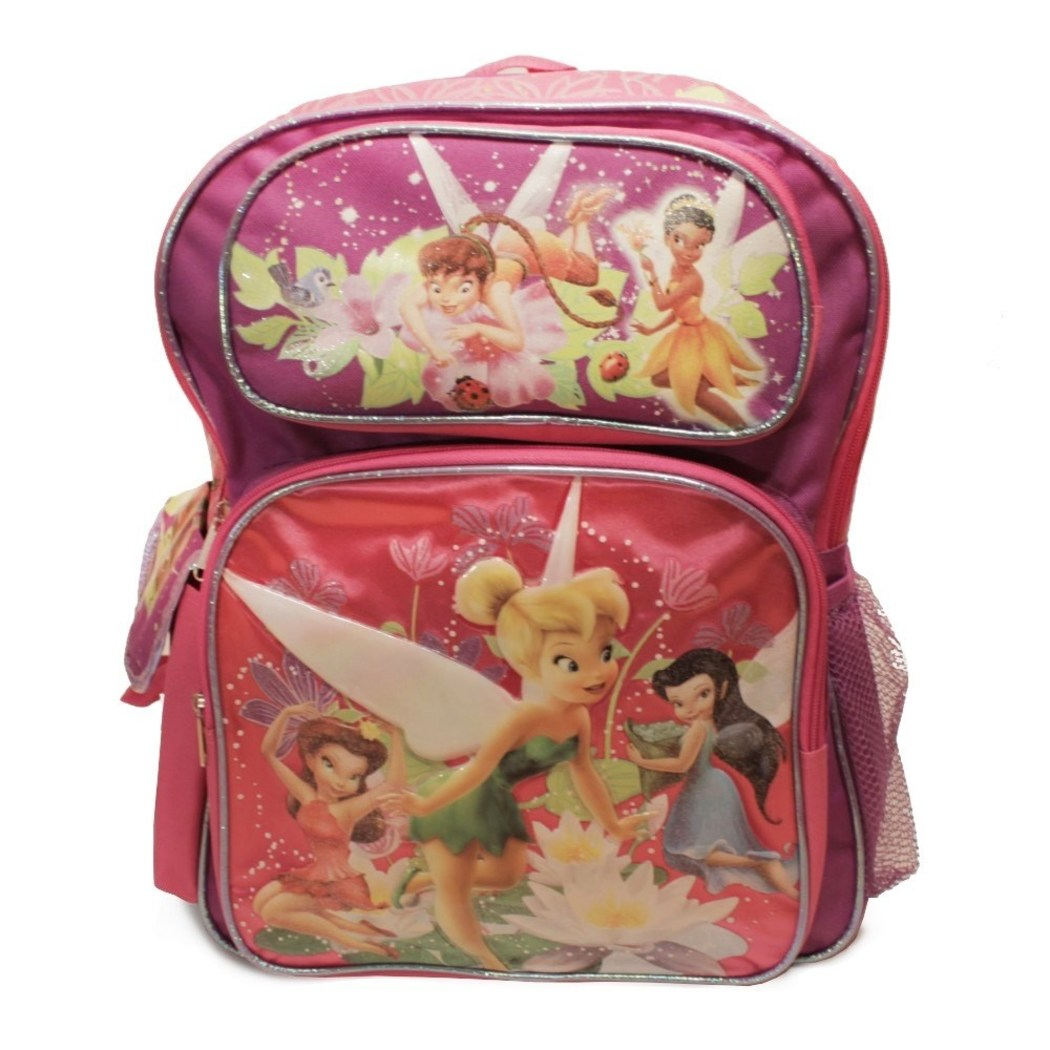 "Pink & Purple Fairies Two Tone Large Kids Backpack 16"" Fairies Mesh - Diamond Home USA"