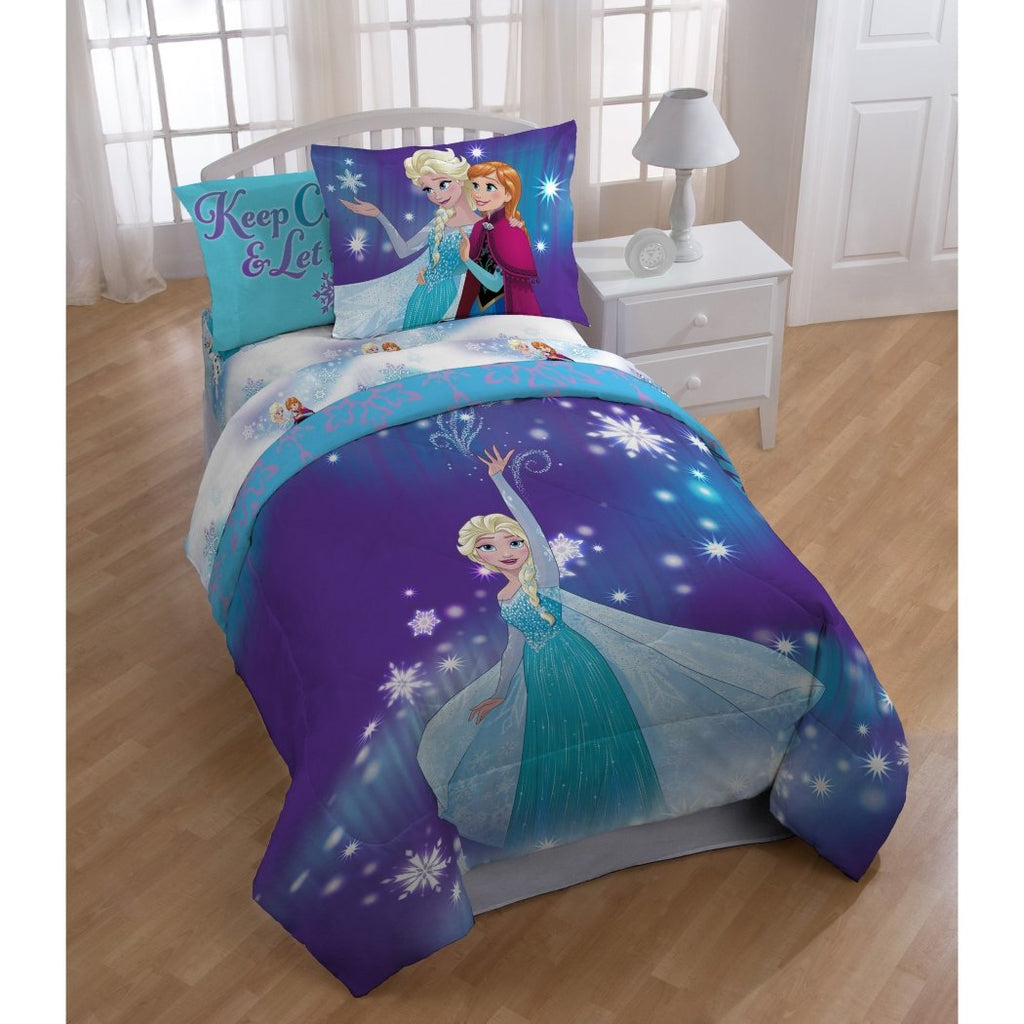 Girls Disney Frozen Comforter Full Set Elsa Anna Character Themed Bedding Ice Princess Purple Blue Ombre Keep Calm Let It Go Snowflake Pattern - Diamond Home USA