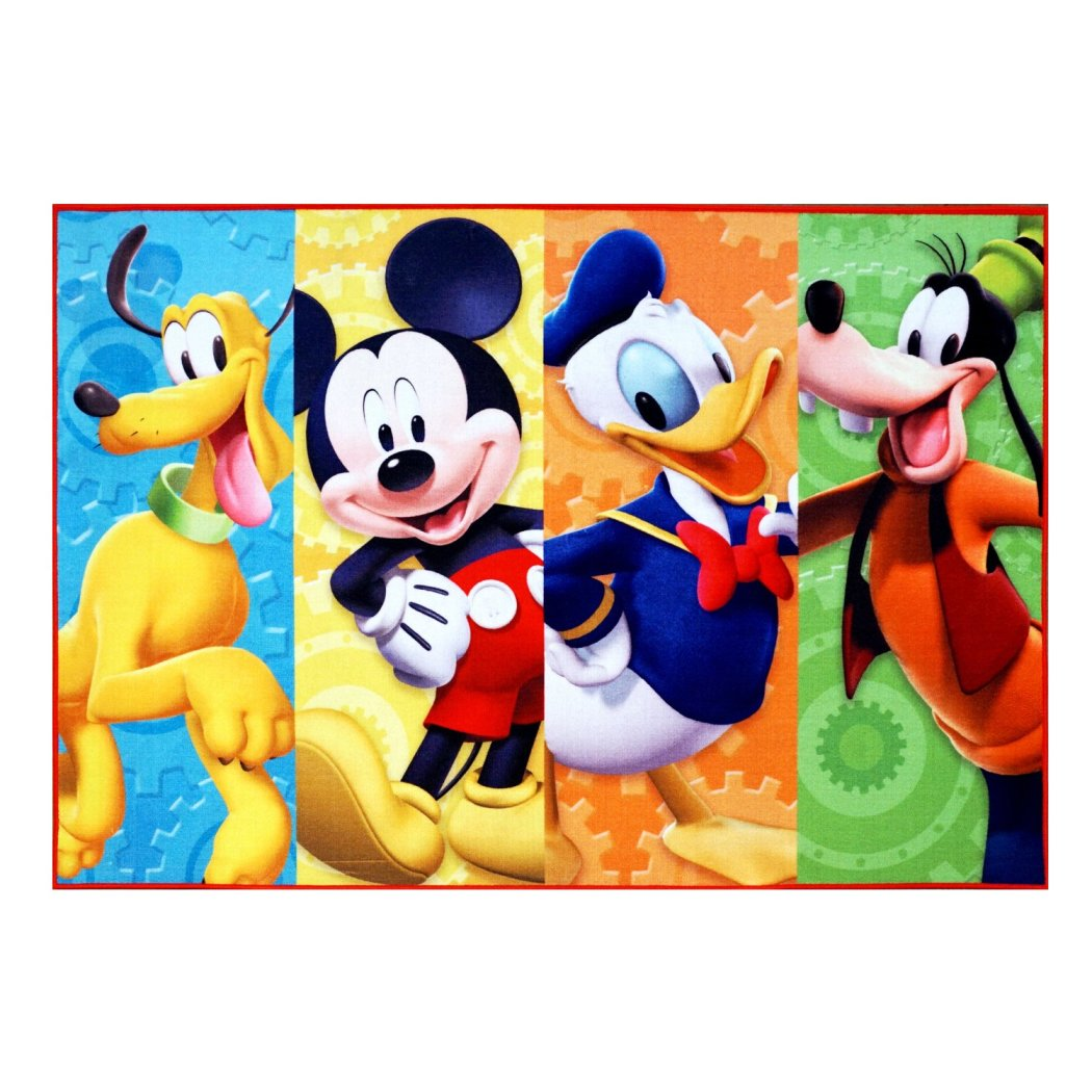 "4'6""x6'6""ft Blue Red Orange White Abstract Kids Area Rug Indoor Color Block Artistic Disney Mickey Mouse Living Room Mat Rectangle Carpet Graphic - Diamond Home USA"