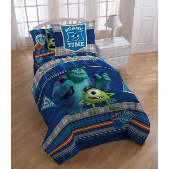 Kids Blue Monster Univrsity Movie Theme Comforter Twin Set Disney Pixar Characters Sulley Mike Wazowski Scare Care Time Bedding Monsters Inc Plaid - Diamond Home USA