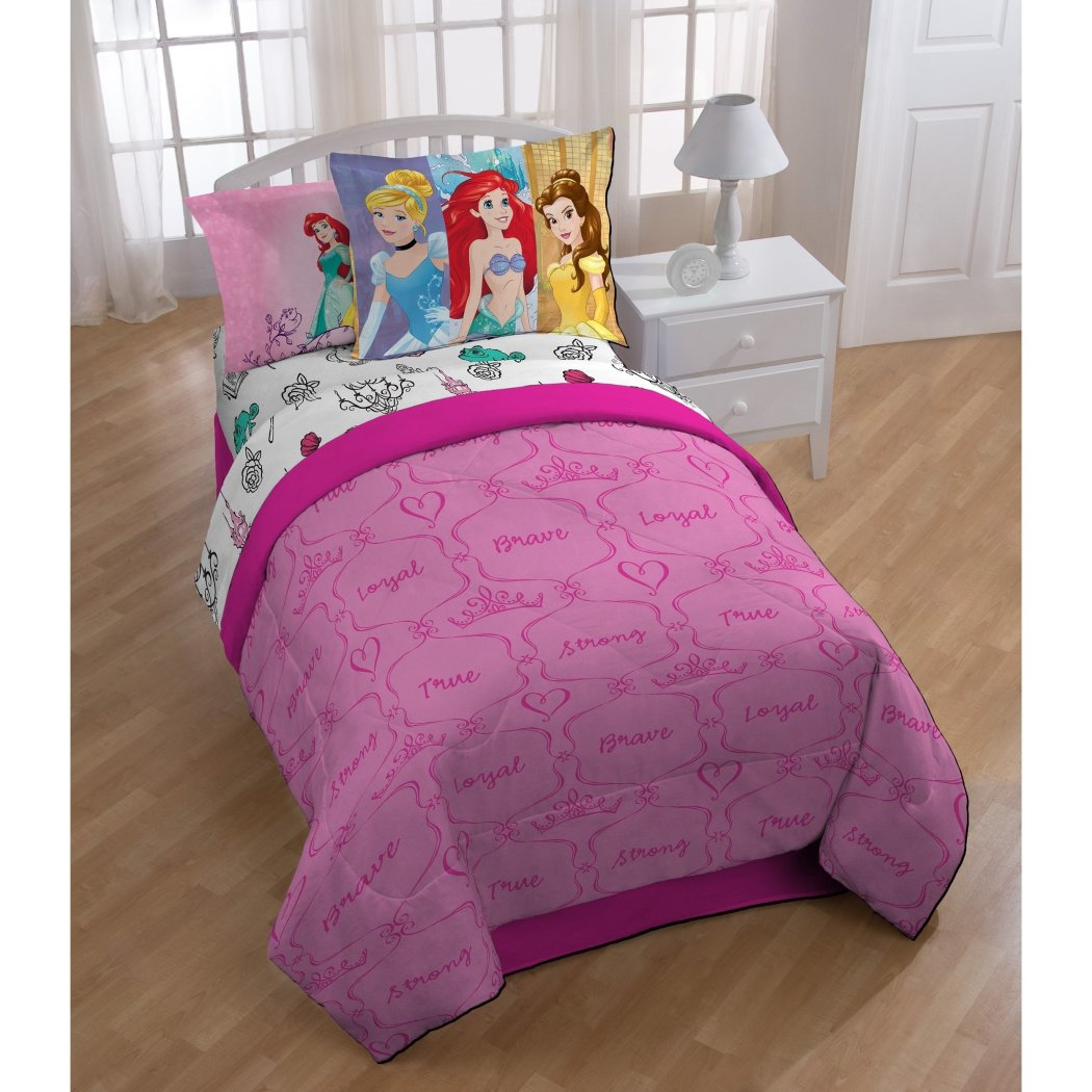 Girls Pink Disney Princess Comforter Twin Set Princesses Cinderella Ariel Belle Themed Bedding FlounderCharacter Motif Heart Scroll Love - Diamond Home USA