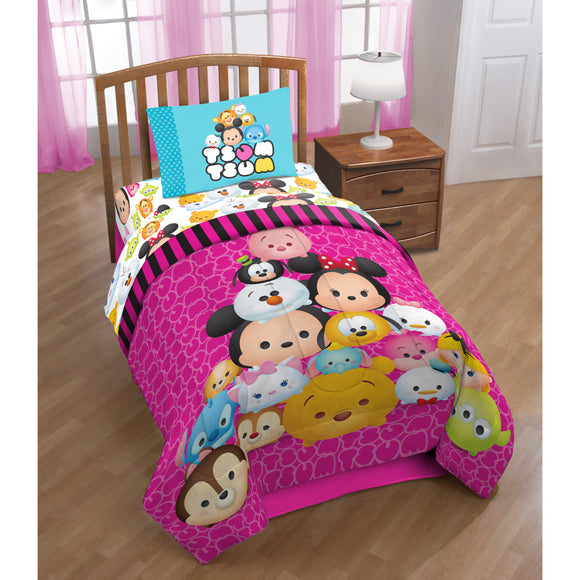 Girls Pink Disney Tsum Tsum Comforter Twin Set Cute Kids Fuchsia Fluffy Tsumtsum Collectible Stuffed Toys Themed Bedding Fun Character Dot Pattern - Diamond Home USA