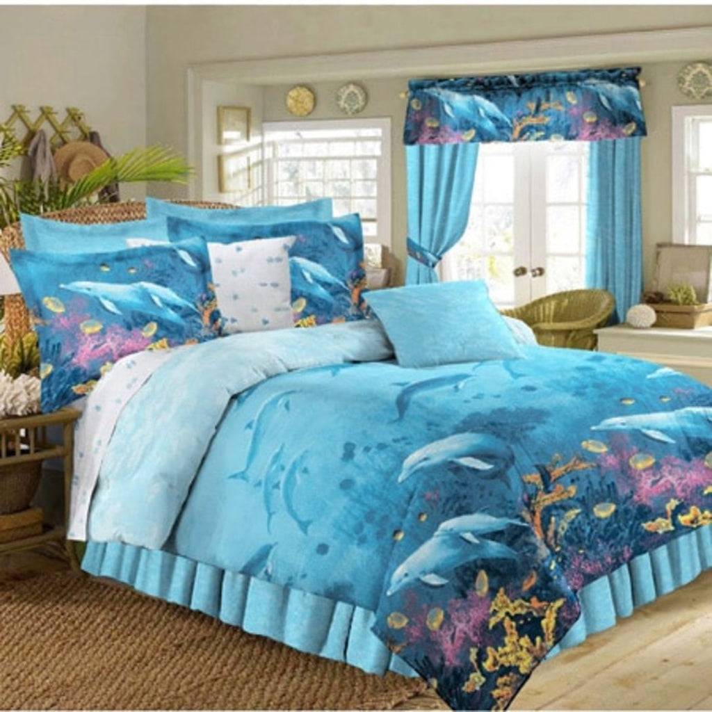 Kids Under Water Dolphins Theme Comforter Set Fun Sea Life Fish Bedding Gorgeous Coastal Nautical Design Sea World Pattern Dolphin