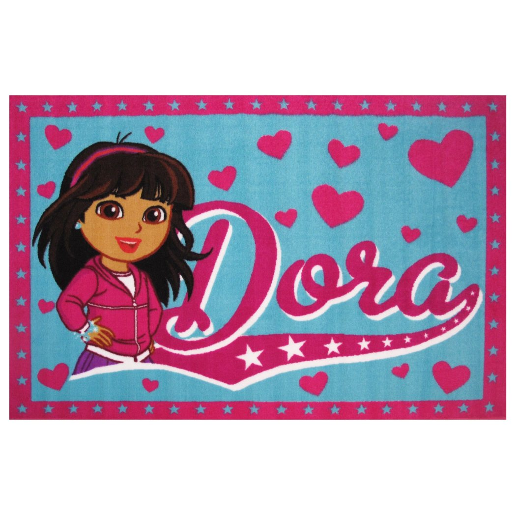"19""x29"" Girls Pink Blue Dora Explorer Printed Area Rug Indoor Graphical Pattern Living Room Rectangle Carpet Graphic Art Themed Vibrant Color Soft - Diamond Home USA"