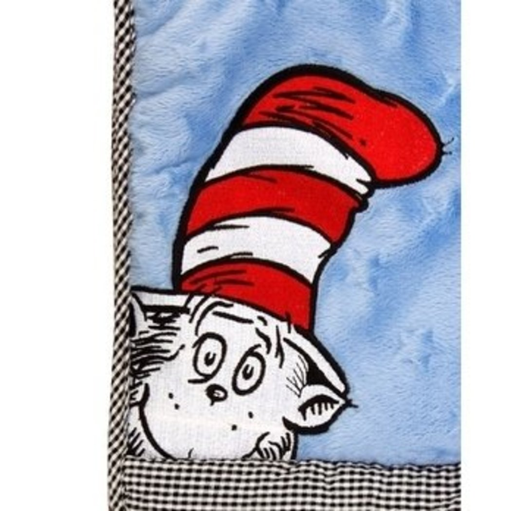 AE Baby Blue Red Dr Seuss Characters Crib Bedding Set Newborn Grey Cat Hat Nursery Bed Set Childrens Books Iconic Stories Movie Animal Stripes - Diamond Home USA