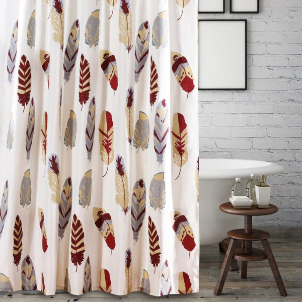 DID 1 Piece Ivory Tan Red Dreamcatcher Shower Curtain Colorful Feathered Bathtub Decor Western Grey