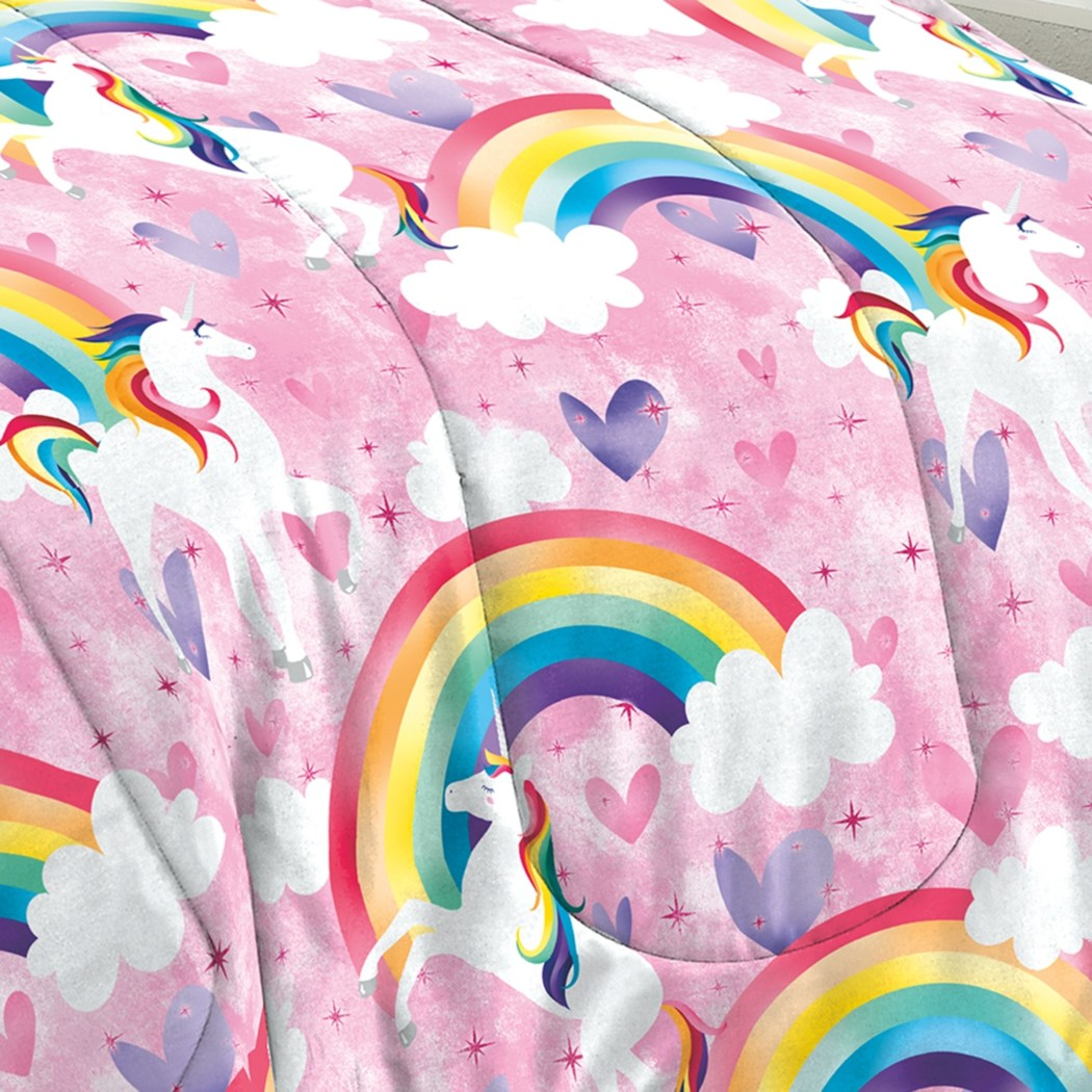 Girls Rainbow Unicorn Comforter Set Love Unicorns Heart Fun Vibrant Majestic Clouds Rainbows Dashing Red