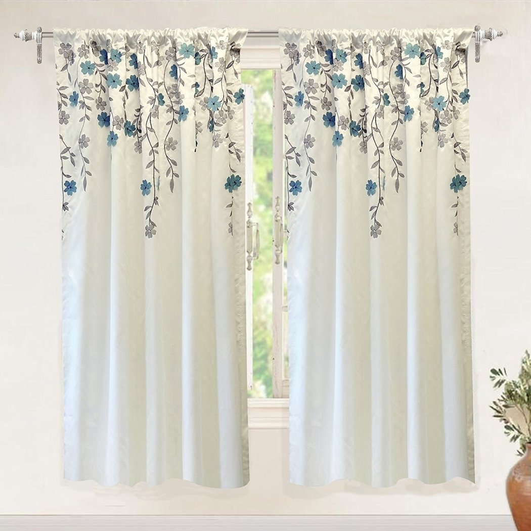Crafted Flowers Embroidered Window Curtain Vines Swirl Pattern Floral Cascade Design Single Panel Thermal Lined Window