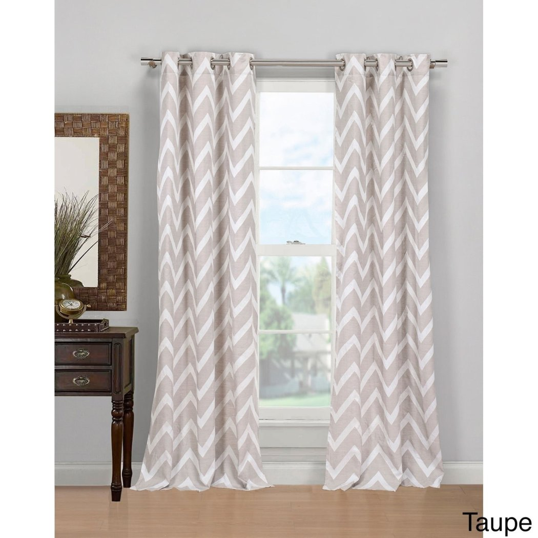 Taupe Chevron Ikat Window Curtain Set 84 Inch Panels Pair Zig Zag Pattern Brown Colour V Shaped Modern Contemporary Zigzag Linen Polyester Gun Metal - Diamond Home USA
