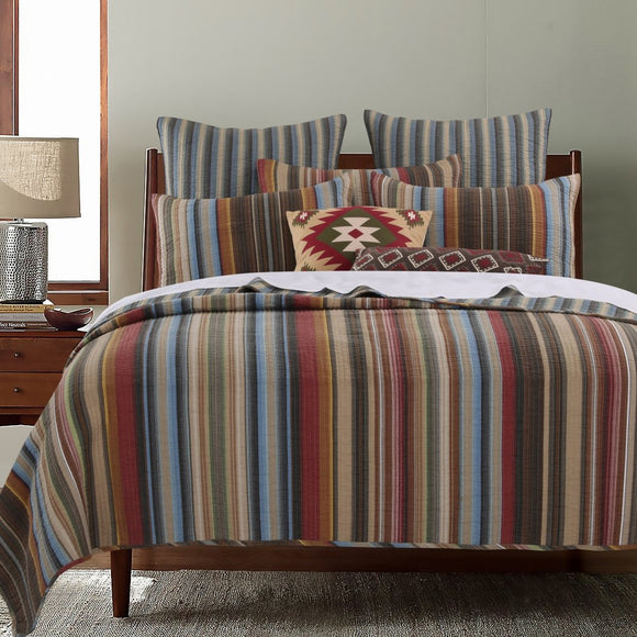 Western Stripe Quilt Set Southwest Spirit Striped Bedding Traditional Country Southwestern Vertical Stripes Themed Pattern