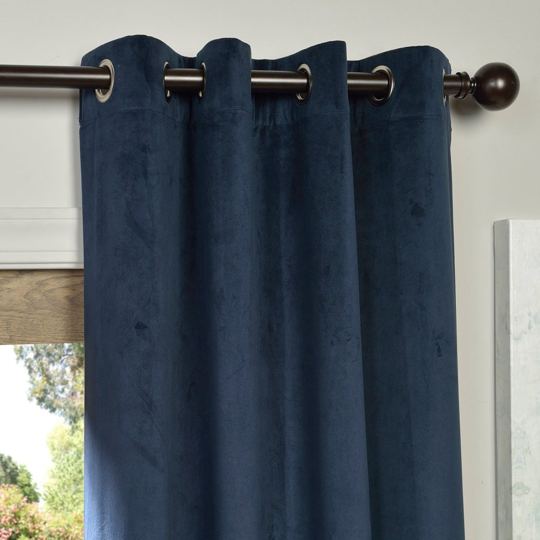 Girls Velvet Blackout Curtain Single Panel Allover Pattern Window Drapes Kids Themed Energy Efficient Thermal Lined