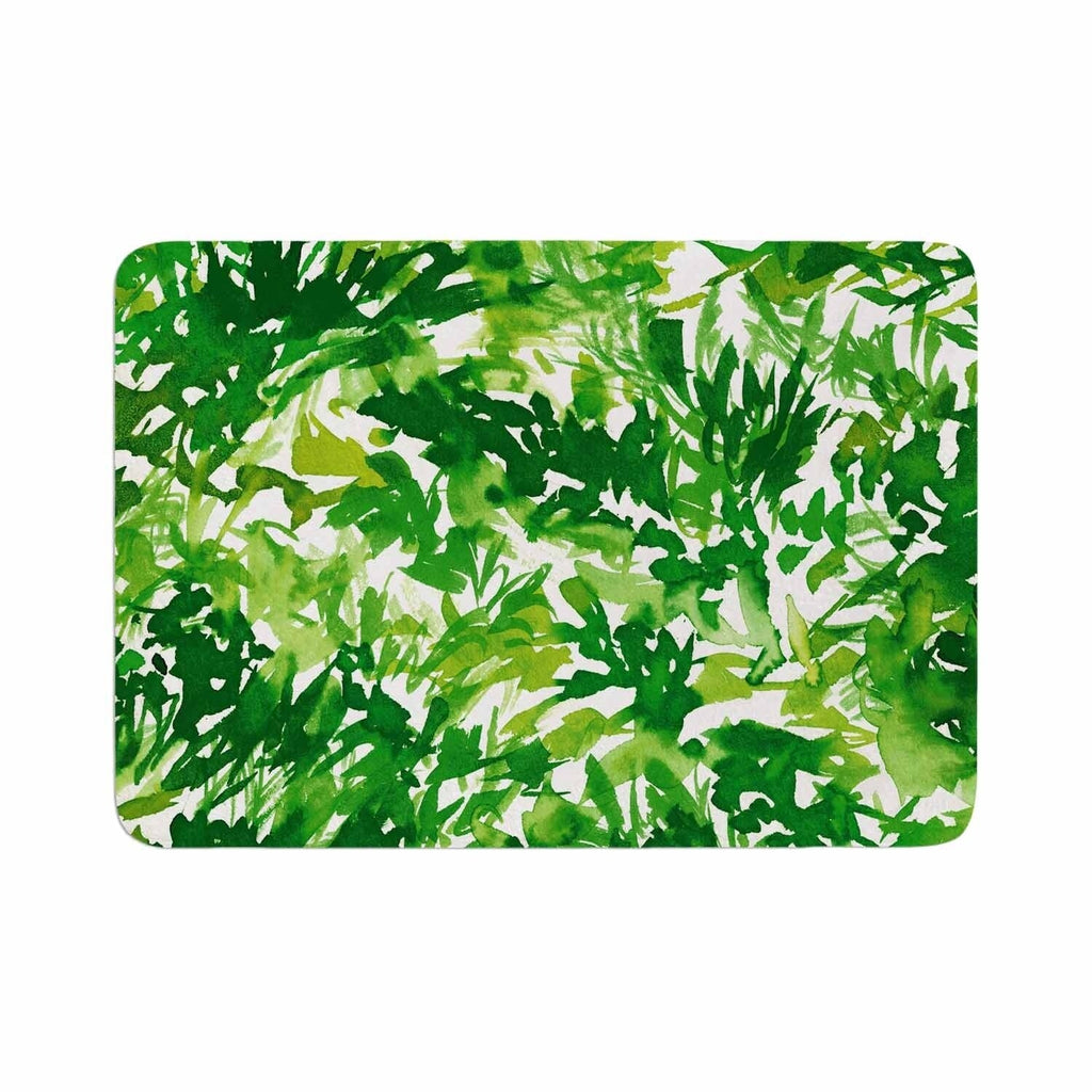 "Ebi Emporium ""In The Meadow 1 - Green White"" Memory Foam Bath Mat Single Piece - Diamond Home USA"