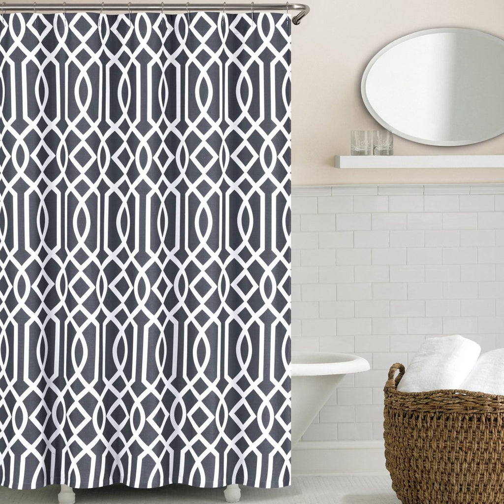 Geometric Pattern Shower Curtain Cotton Abstract Graphical Themed