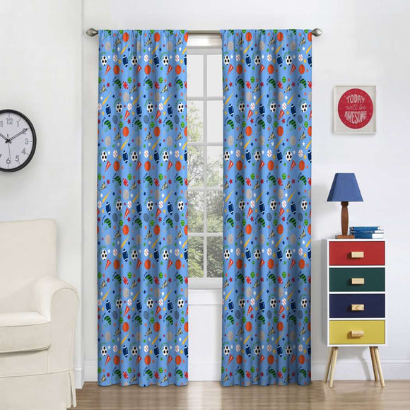 Field Day Window Curtain Soccer Baseball Basketball Football Sports Accessories Graphic Single Panel Kids Teen Blackout Window Treatment