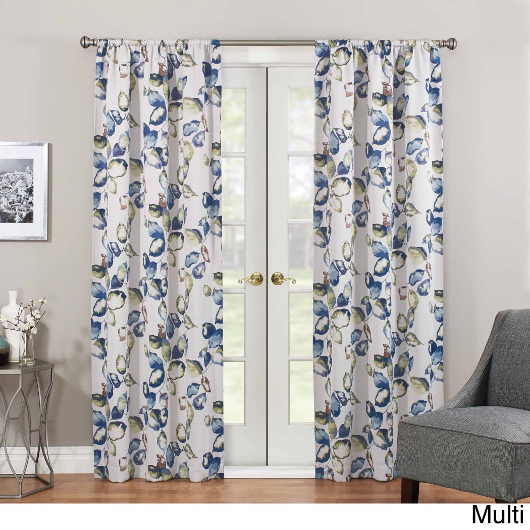 Girls Birch Floral Botanical Window Curtain Single Panel Flowers Printed Hippy Bohemian Window Treatment Woven Garden Themed