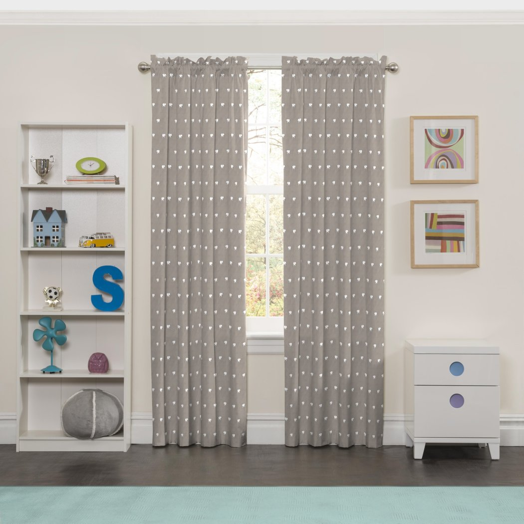 Mini Elephantnts Window Curtain Animal Drape Wildlife Blackout Noise Reducing Thermal Insulated Energy Efficie Window