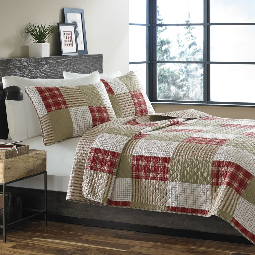 Plaid Quilt Set Coastal Lodge Cabin Theme Bedding Patchwork Checkered Squares Tartan Madras Ljack Rugby Stripes Checked