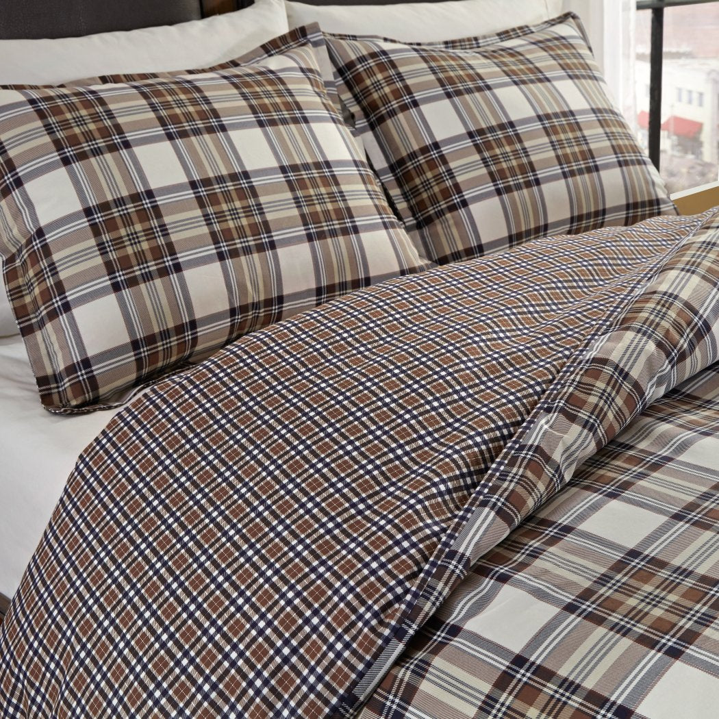 Plaid Duvet Cover Set Country Horizontal Vertical Stripes Checked Bedding Cabin Themed Ljack Pattern Lodge