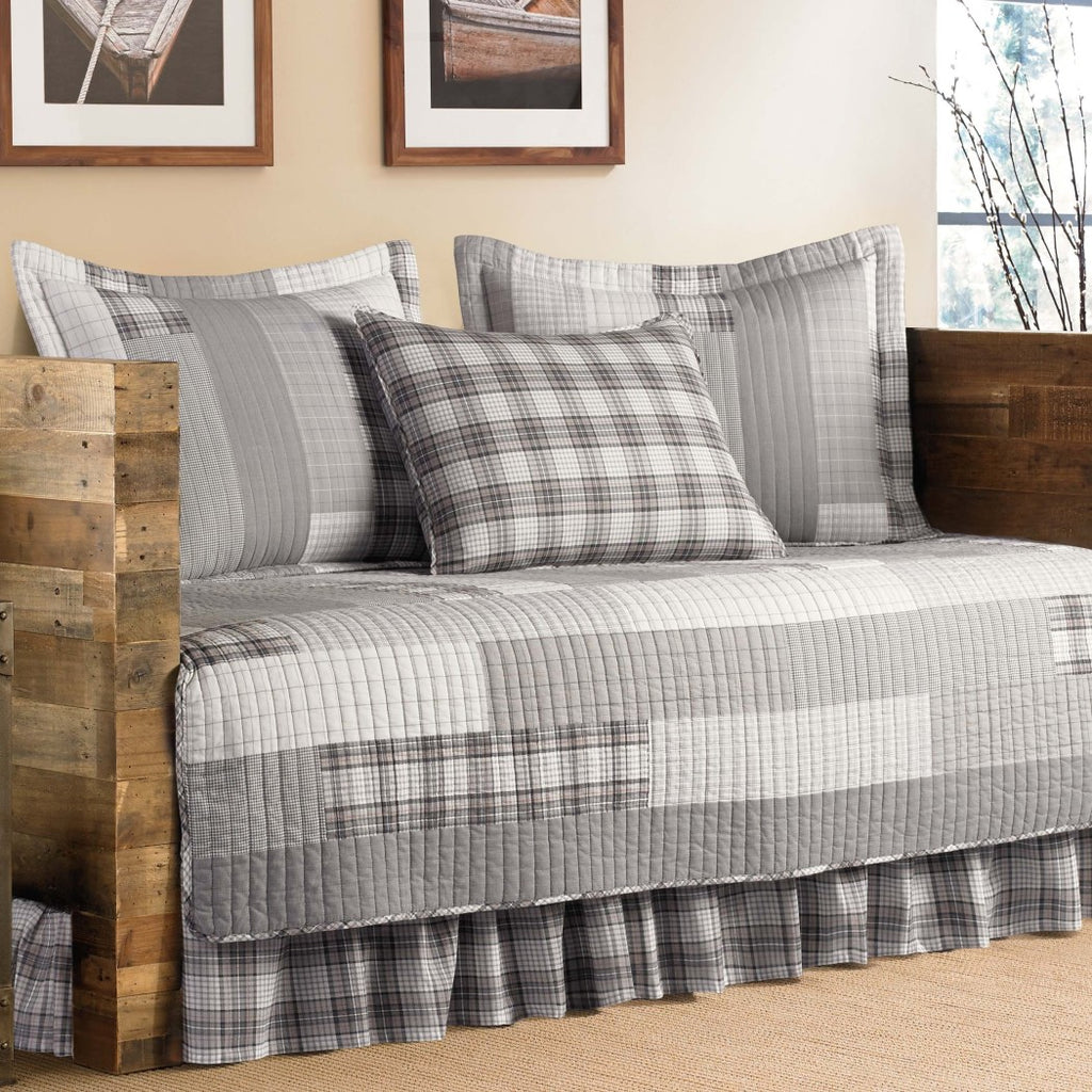 Phenomenal Grey Plaid Daybed Cover Set Geometric French Country Shabby Chic Interior Design Ideas Philsoteloinfo