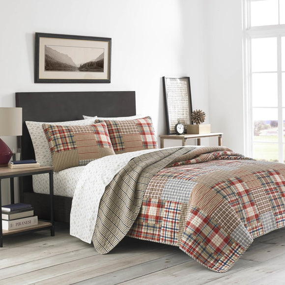 Plaid Quilt Set Patchwork Bedding Madras Ljack Pattern Blocked Checked Stripes Cabin Lodge Cotton