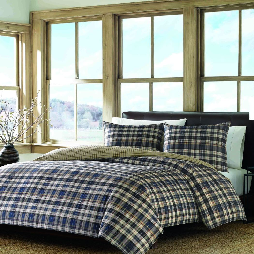 Tartan Plaid Stripes Comforter Set Cabin Themed Bedding Checked Ljack Pattern Lodge Southwest Madras Cottage Percale