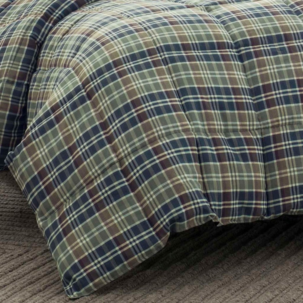 Plaid Comforter Set Madras Ljack Stripes Cabin Lodge Theme Checkered Checked Pattern Bedding Squares Sold Microfiber Polyester