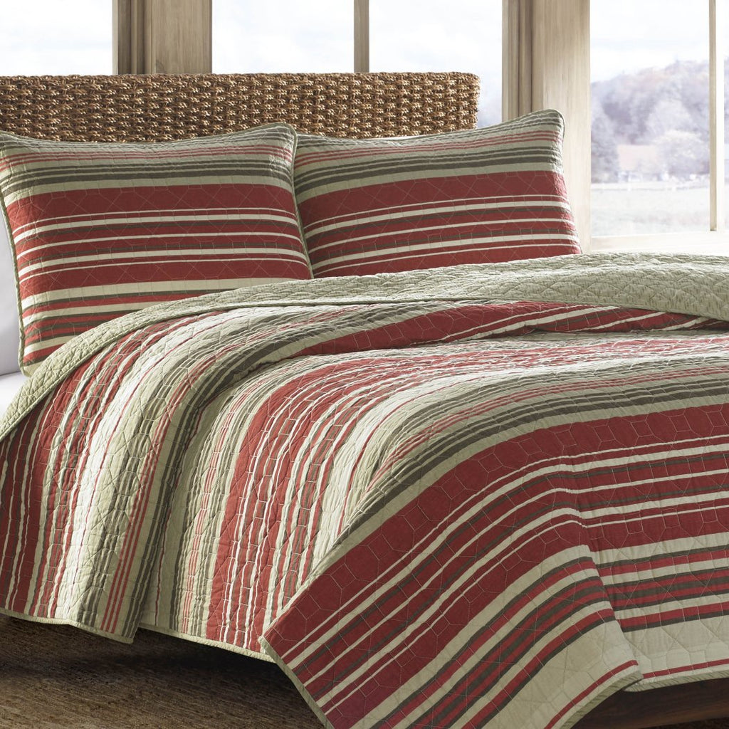Plaid Patchwork Quilt Rugby Striped Madras Horizontal Stripes Country Cabin Lake House Patch Work Cotton