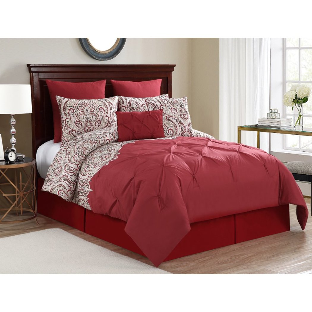 Paisley Pintuck Comforter Set Stylish Luxury Bedding Modern Master Bedrooms Floral Embroidery Diamond Pattern Vibrant Red