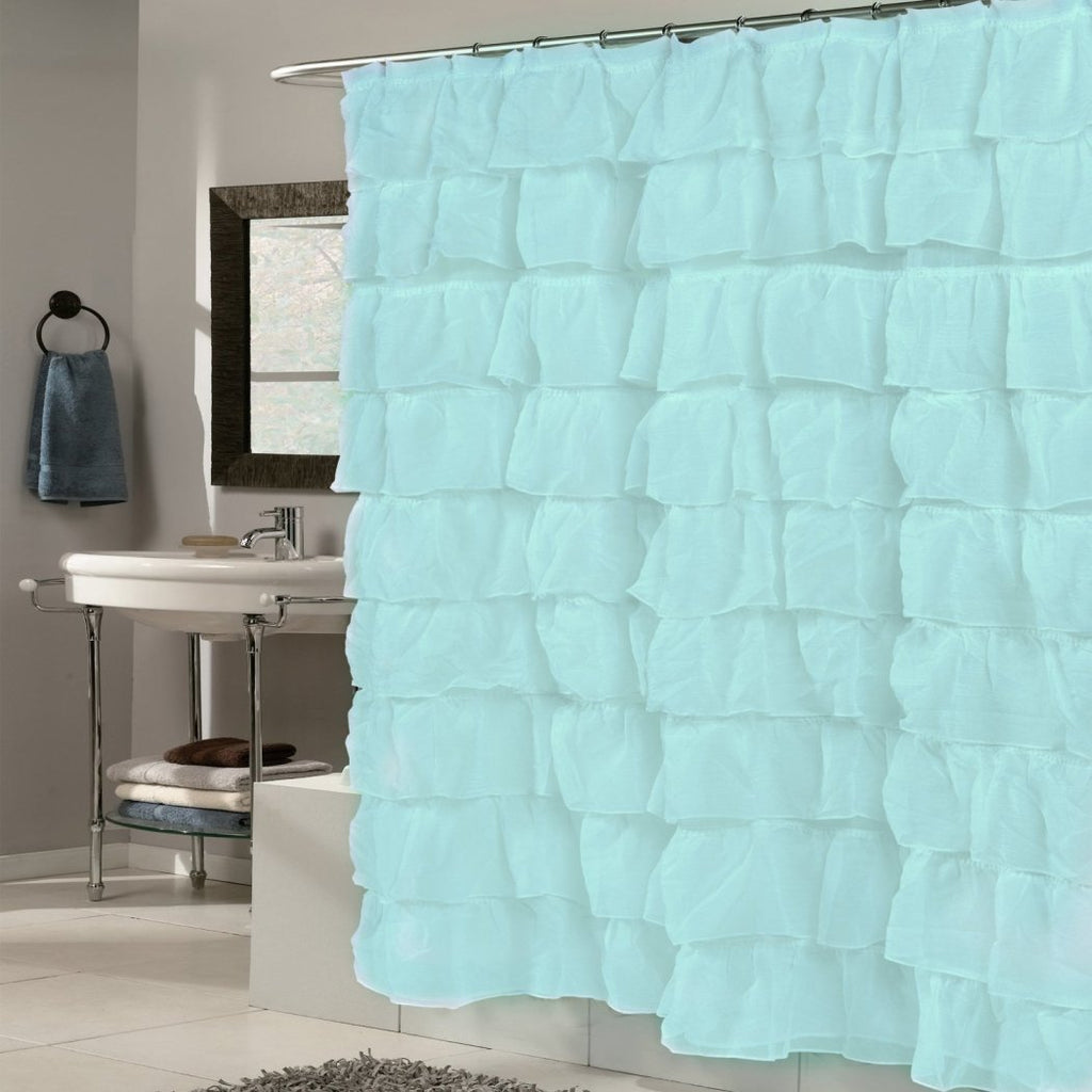 Aqua Spa Blue Gypsy Ruffle Shower Curtain Bohemian Ruffled Pattern Layered Overlapping Ruffles Gypsies Hippie Themed