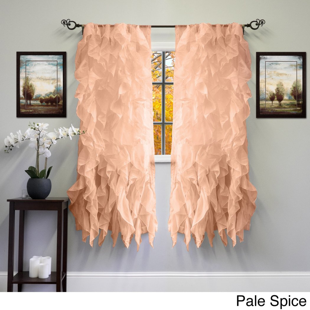 Girls Gypsy Window Curtain Single Panel Off Bohemian Ruffled Pattern Layered Overlapping Ruffles Gypsies Hippie Themed Hippy