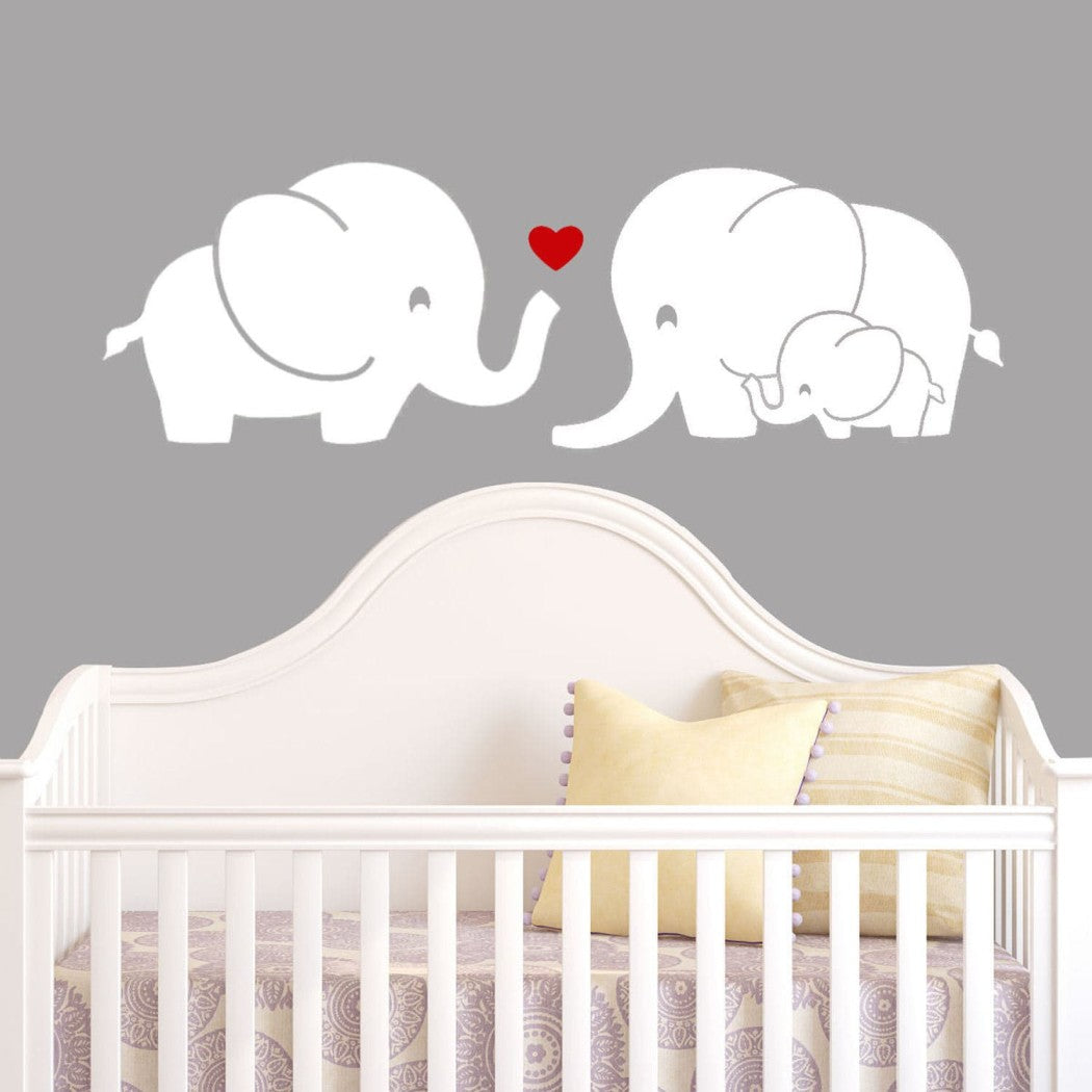 Kids Elephant Wall Decal Animal Themed Wall Stickers Peel Stick Cute Safari Africa Heart Love Trunk Baby Adorable Decorative Mural Art Vinyl