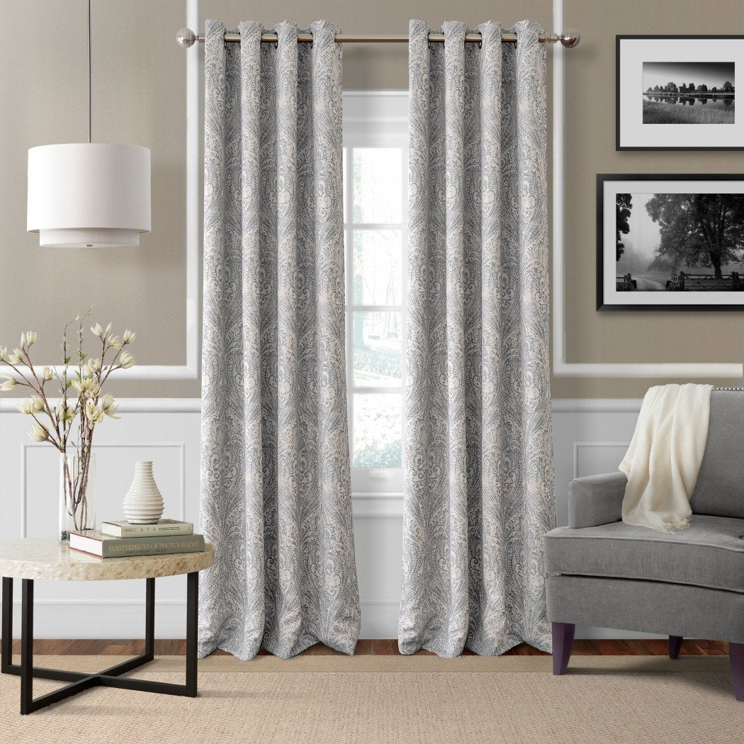 Ikat Paisley Window Curtain Damask Floral Boteh Abstract Graphic Single Panel Blackout Room ening Energy Efficie Window
