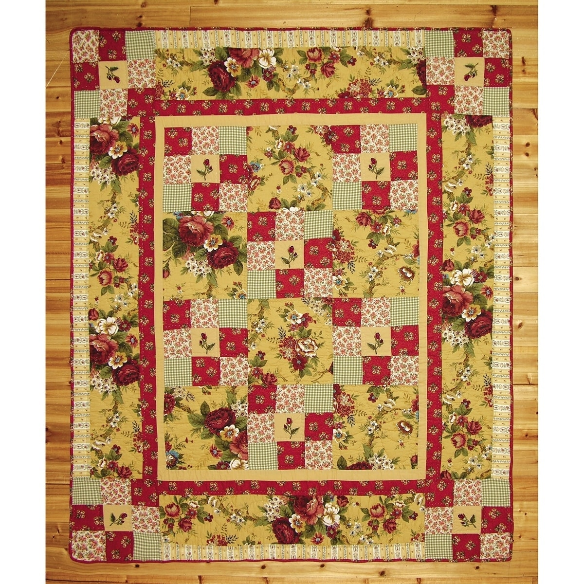 Emilia Rose Hand Quilted Throw Yellow Floral French Country Cotton - Diamond Home USA