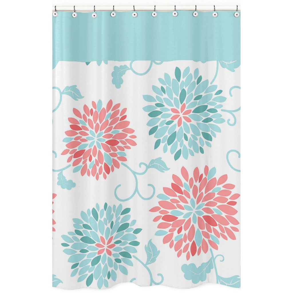 Blue Coral Daisy Flowers Shower Curtain Elegant Whimsical FloralInspire Pattern Bathtub Swirl Vines Design Casual