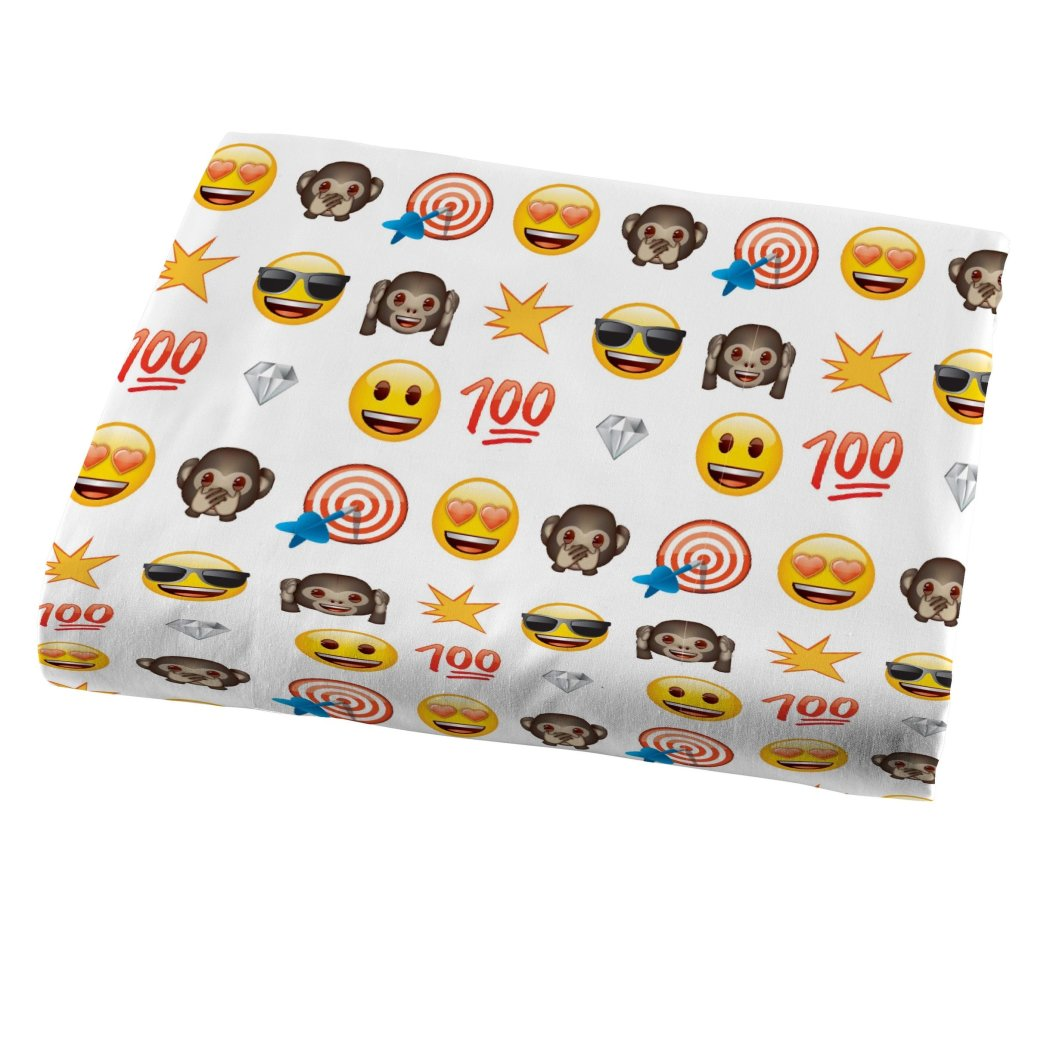 Kids White Yellow Emoji Themed Sheet Set Twin Sized Fun Emoticon Bedding Smile Face Sunglasses Brown Monkey Humor Pattern Text Icons Heart - Diamond Home USA