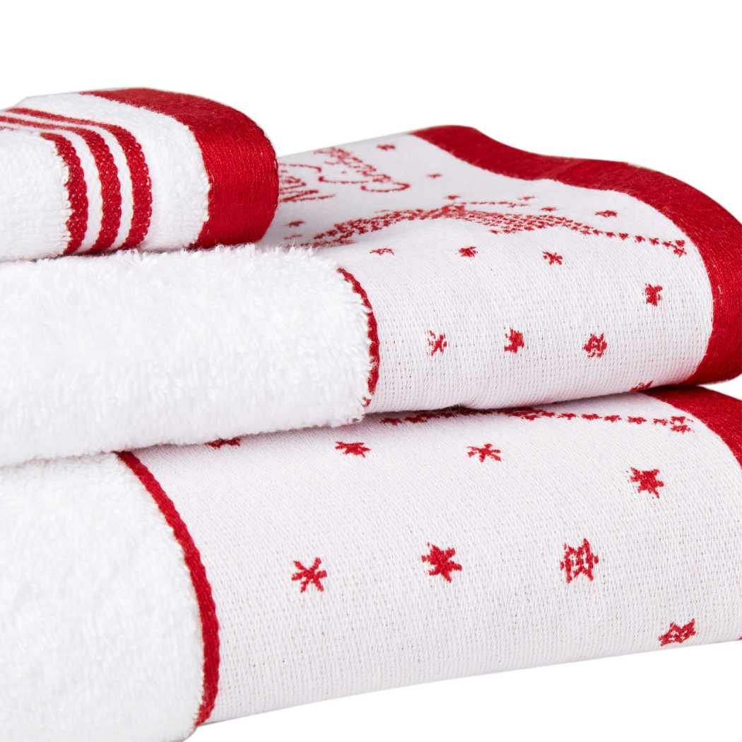 Christmas Towel Set Reindeer Holiday Season Winter Themed Snowy Jacquard Snow Flake Pattern Towels Horizontal Stripes Luxurious mas