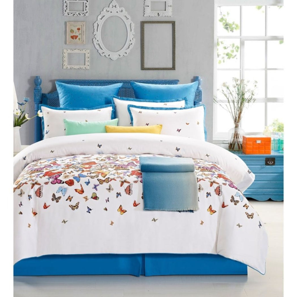 Ever Butterfly Cotton Comforter Set White