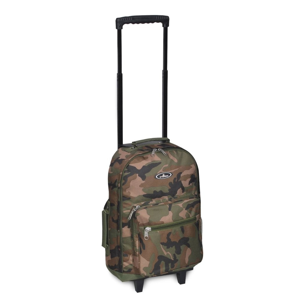 Army Green Rolling Wheeled Duffel Backpack Bag Military Camo Camouflage Pattern - Diamond Home USA