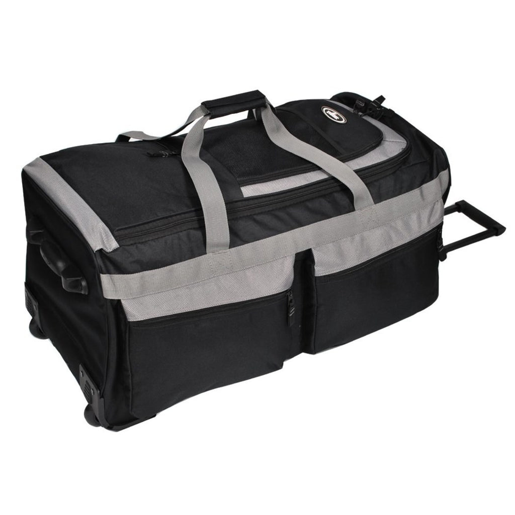 Black Grey Rolling Upright Duffle Bag Water Resistant Polyester - Diamond Home USA