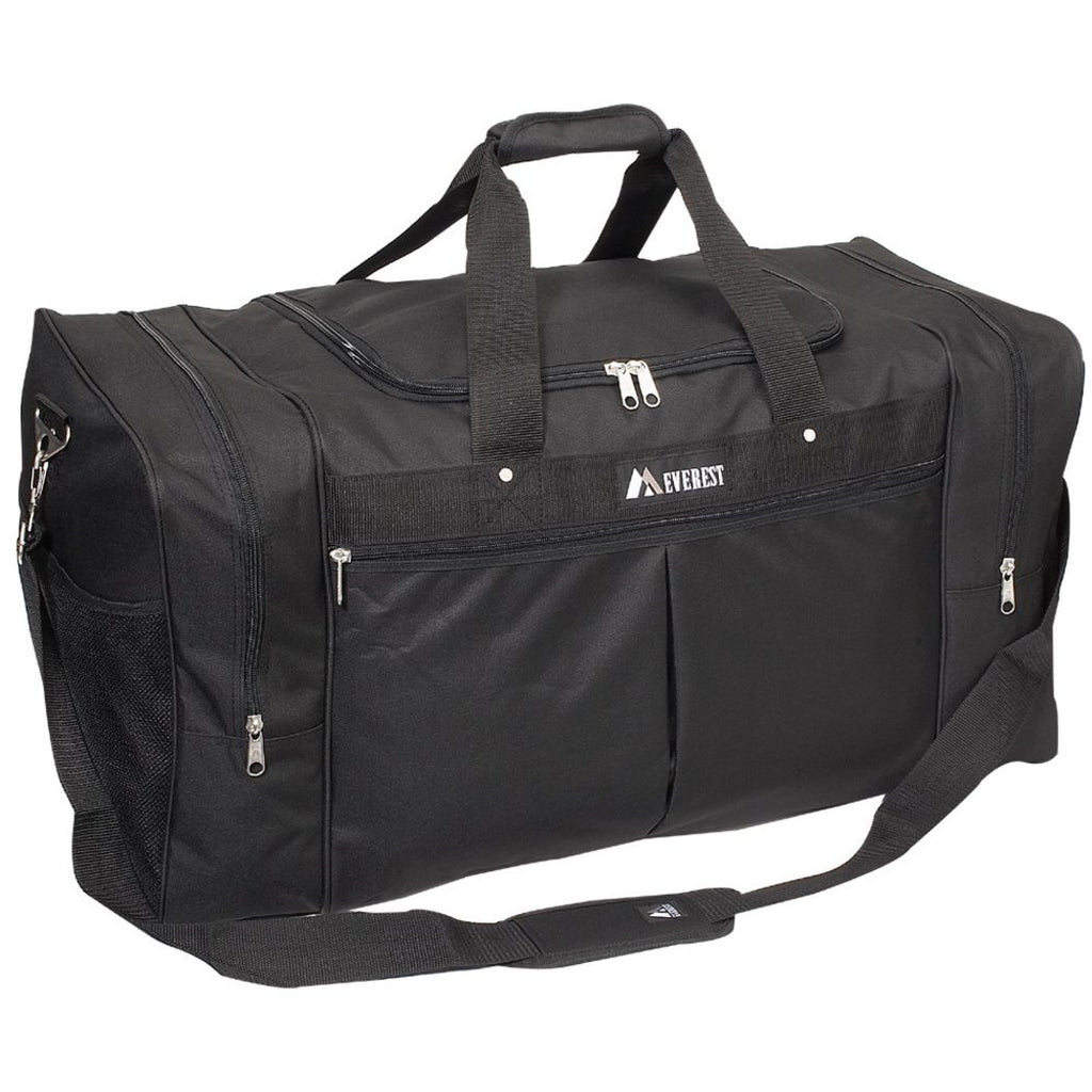 Black Outdoors Travel Duffel Bag Lightweight Sports Themed Water Resistant Gym - Diamond Home USA