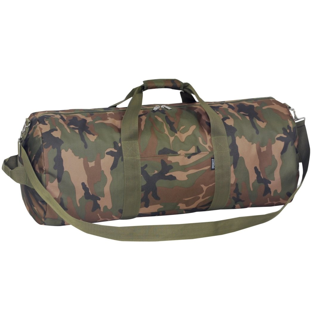 Green 30 inch Camo Rounded Duffel Bag Camouflage Pattern Polyester - Diamond Home USA