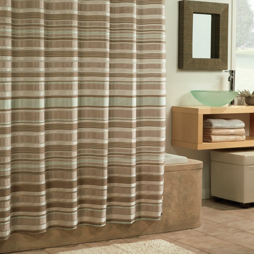 Tan Cream Brown Horizontal Stripe Printed Shower Curtain Polyester Abstract Graphical Geometric Pattern Detailed Colorful Textures Printed Modern - Diamond Home USA