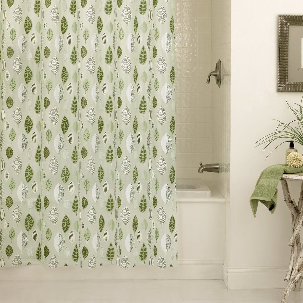 Green Graphical Nature Themed Shower Curtain Vinyl Lightweight Detailed Leaf Printed Abstract Floral Pattern Classic Elegant Design Rich Textures - Diamond Home USA