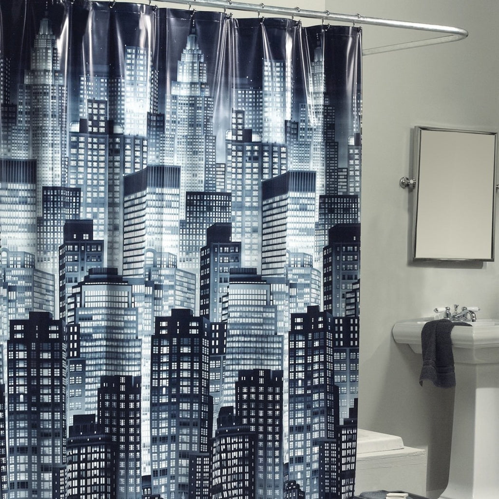 Dark City Skyline Themed Shower Curtain Graphic Art Work Gorgeous Abstract Big City Buildings Adorable Night Look Artistic Accents Black White - Diamond Home USA