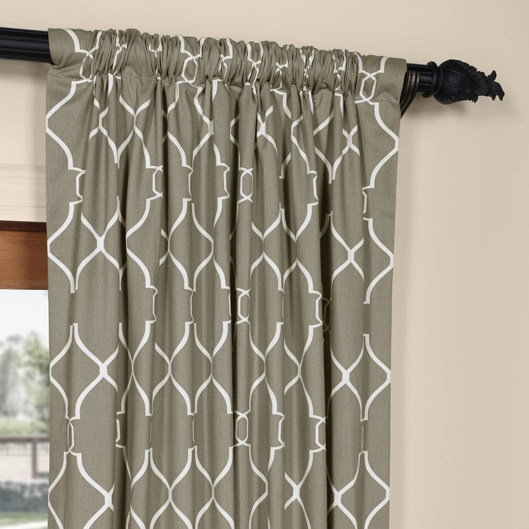 Geometric Pattern Window Curtain Single Panel Snow Moroccan Printed Window Treatment Lined Casual Classic
