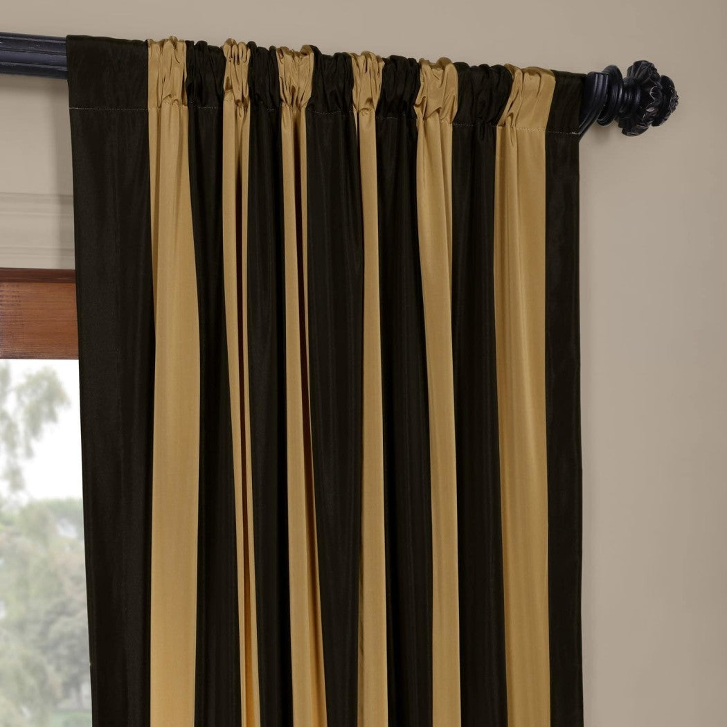 Rugby Stripes Faux Silk Taffeta Window Curtain Single Panel Window Treatment Striped Vertical Lines Energy Efficient Insulated