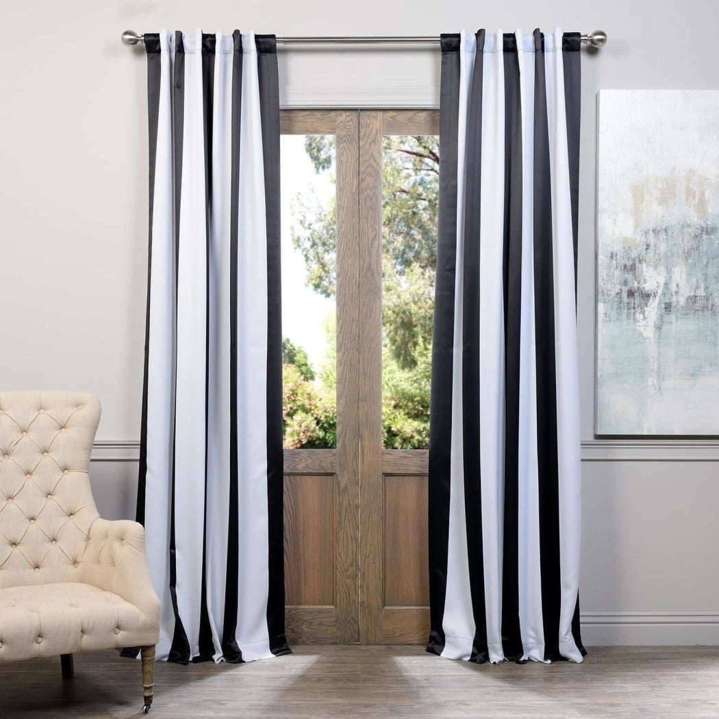 Bold Rugby Stripes Curtains Pair Panel Set Drapes Cabana Striped Pattern Window Treatments Casual Themed Vertical
