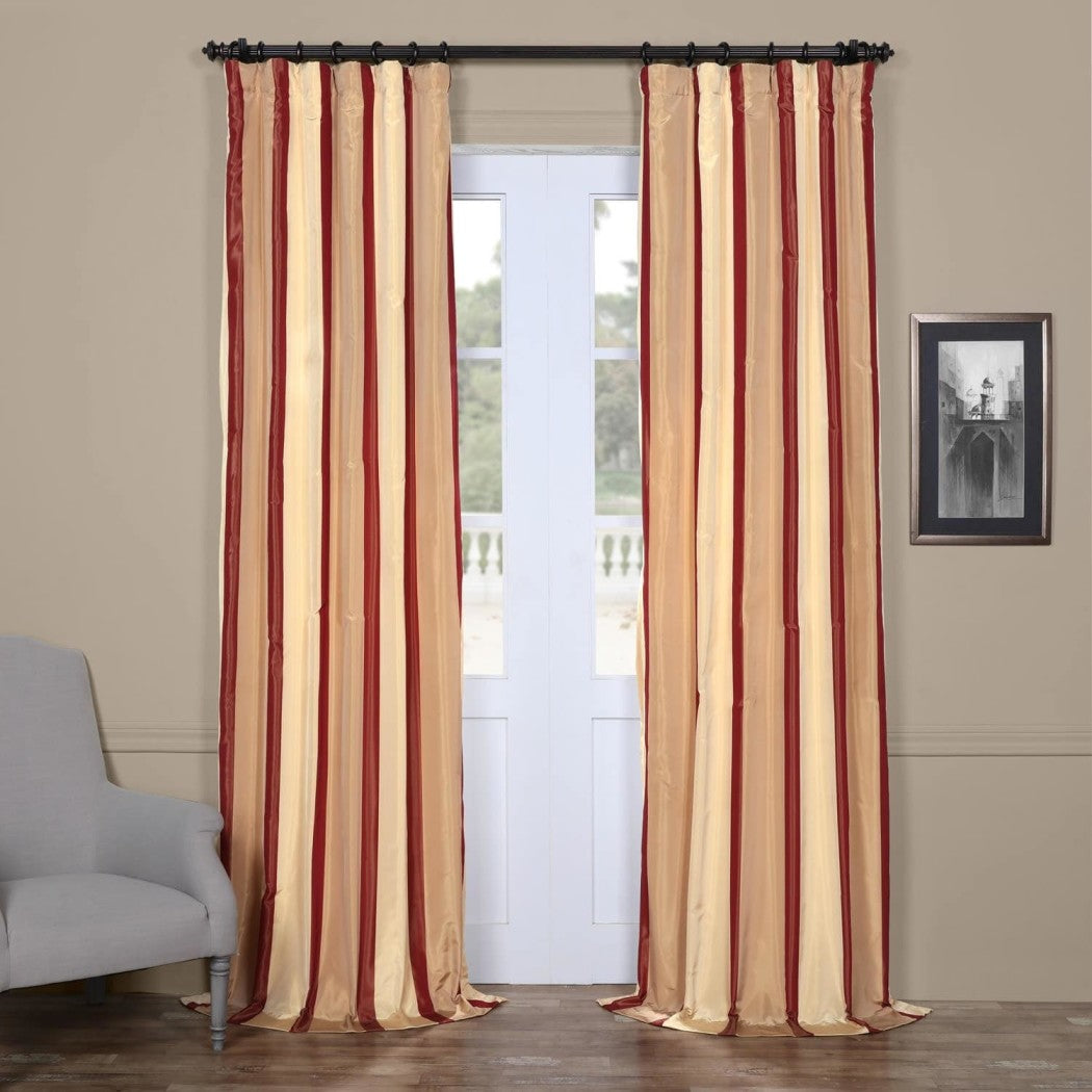 Rugby Stripes Faux Silk Taffeta Window Curtain Single Panel Window Treatment Striped Vertical Lines Energy Efficient
