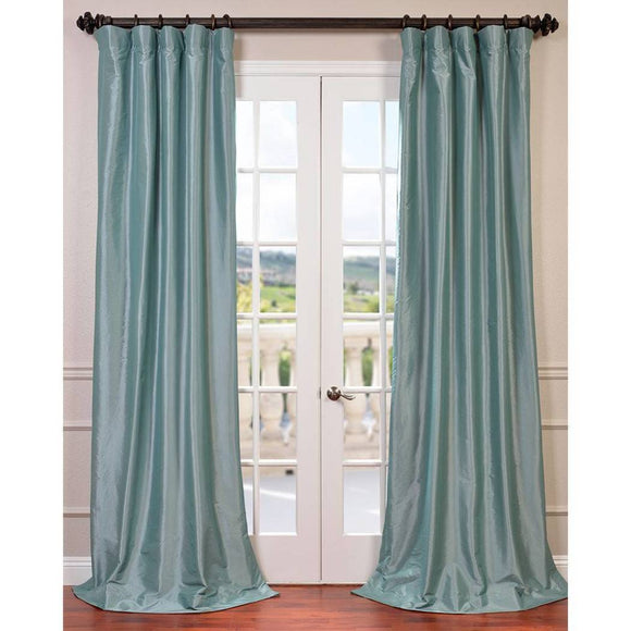 Robin Egg Faux Silk Taffeta Window Curtain Single Panel Fabrics Window Treatment Lined Energy Efficient Blackout